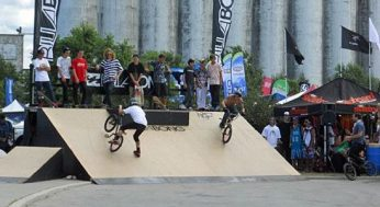 A pair of BMX riders practise their moves at Wakestock. The 13th edition of the festival took place at Millenium Park in Collingwood Harbour on Aug. 6, 7, and 8.