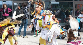 Native canadian dancers perform at the 2015 Pan Am Games logo launch party outside the Air Canada Centre on Sept. 29.