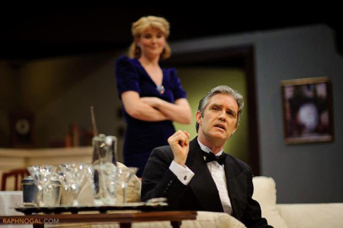 Protagonists Charles Condomine played by Ted Powers (front) and Ruth Condomine played by Karen Brown (back) got into a downward spiraling sequence of events in a love triangle involving a ghost.