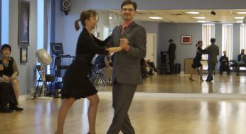 Owner of Shall We Dance studios, Maria Golovanevski and manager Egor Belashov dance for visitors at the annual event. The two began dancing years ago and won first place in American ballroom dancing at the 2008 Canadian National Championships.