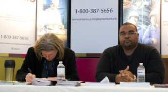 Ian Shaw (left) and Brent Beeston with the Ministry of Training, Colleges and Universities urged students to consider the skilled labour market when done school.