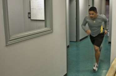 Duenas uses the tight space in the Peel club to do all his physical exercises which last about two hours on an average day.