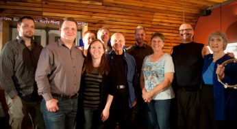 Back row (left to right): Lynda Kosowan, Tim Howe and Jim Webster. Front row, (left to right): Allan Kosowan, Ken Kosowan, Amy Hughes, Bill Kosowan, Rhonda Kosowan, Larry Kosowan and Nan Kosowan.