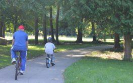 A man and his grandson enjoy a bike ride through the Terry Fox Route.