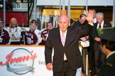 OHL commissioner David Branch waves to the crowd during the pre-game ceremonies.