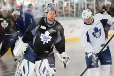 James Reimer and Tyler Bozak getting ready for practice.