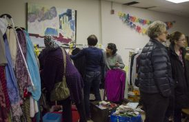 Sponsors and Syrian families were picking up clothing that was donated to 'The Hub' by community members during the mix and mingle event.