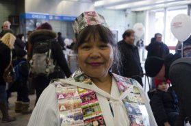 Nelinda Antiga has been collecting TTC metropasses since 1997. She decided to incorporate the cards for a Halloween costume one year and was encouraged to wear it to the Chester Station birthday bash.