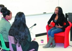 Stacy-Ann Buchanan speaks to Centennial College students about mental health in the black community.