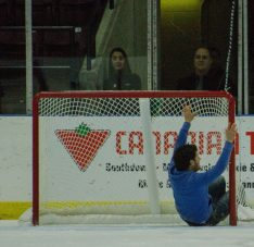 The puck wasn't the only thing finding the back of the net. A fan snuck onto the ice mid-way through the second period and slid into the Steelheads net.