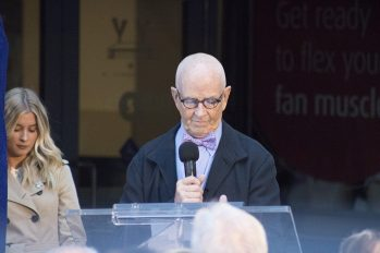 Former Maple Leafs Captain Dave Keon makes a speech before the unveling of his statue