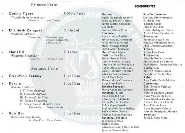 Programa del Concierto en Honor de Santa Cecilia en Torrelodones