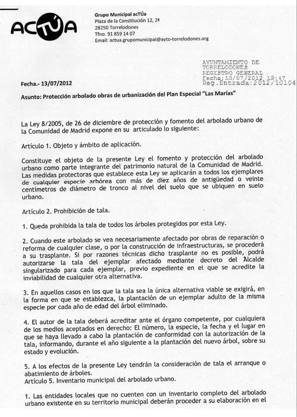 Escrito de acTÚa dirigido a la Alcaldesa de Torrelodones en relación a el arbolado de Las Marías