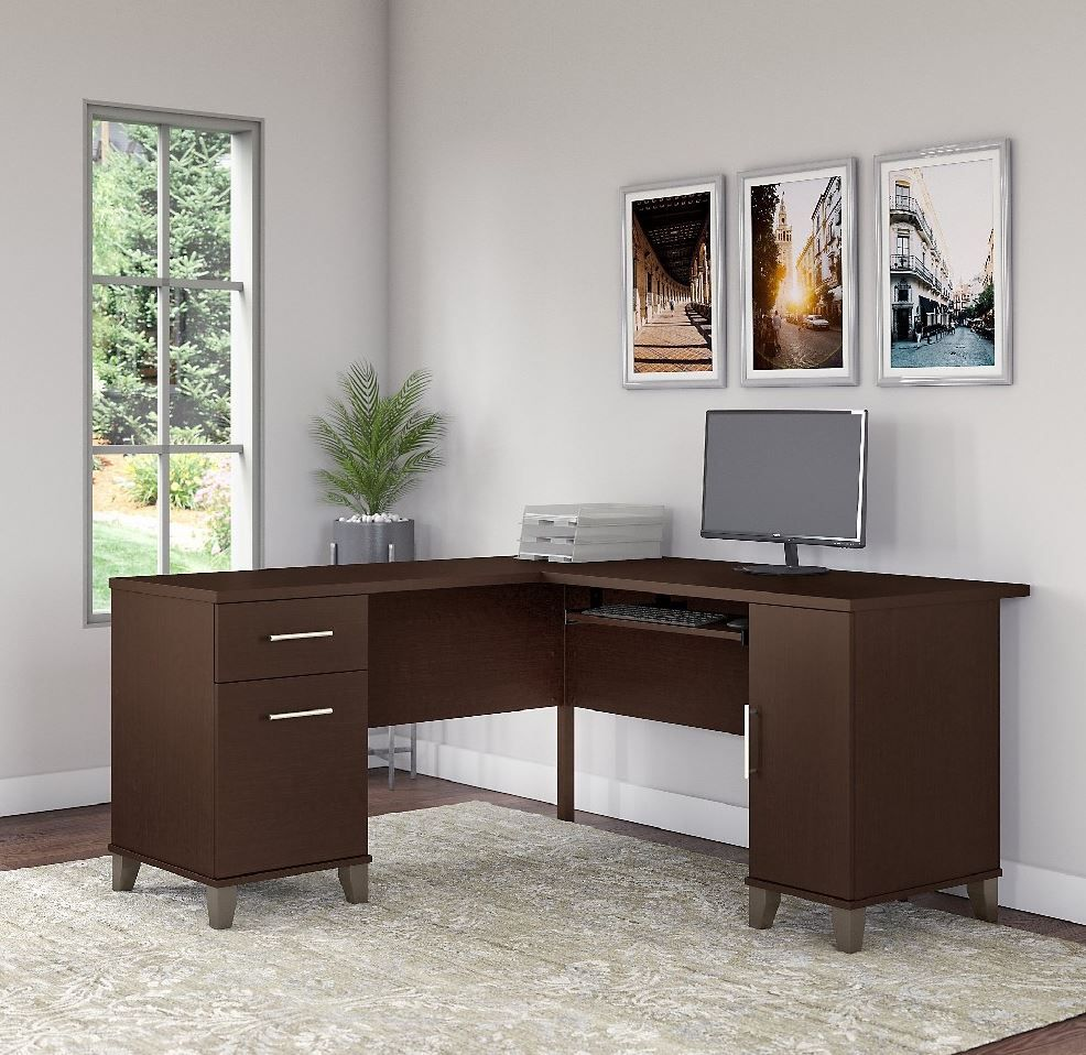 Somerset 60w L Shaped Desk In Mocha Cherry Bush Furniture Wc81830k