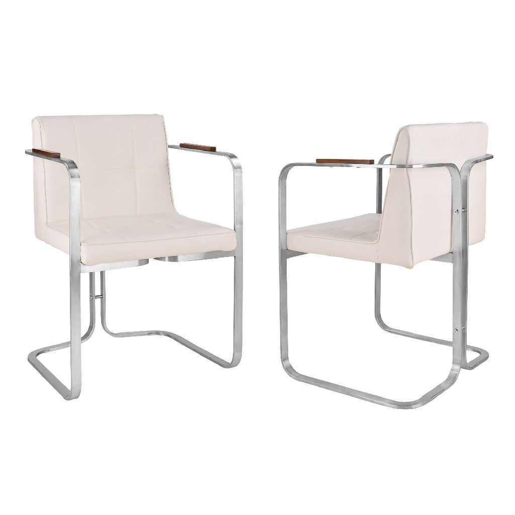 Crystal Contemporary Dining Chair In Brushed Stainless Steel W White Faux Leather Walnut Arms Set Of 2 Todays Mentality Tmcrdibswh2