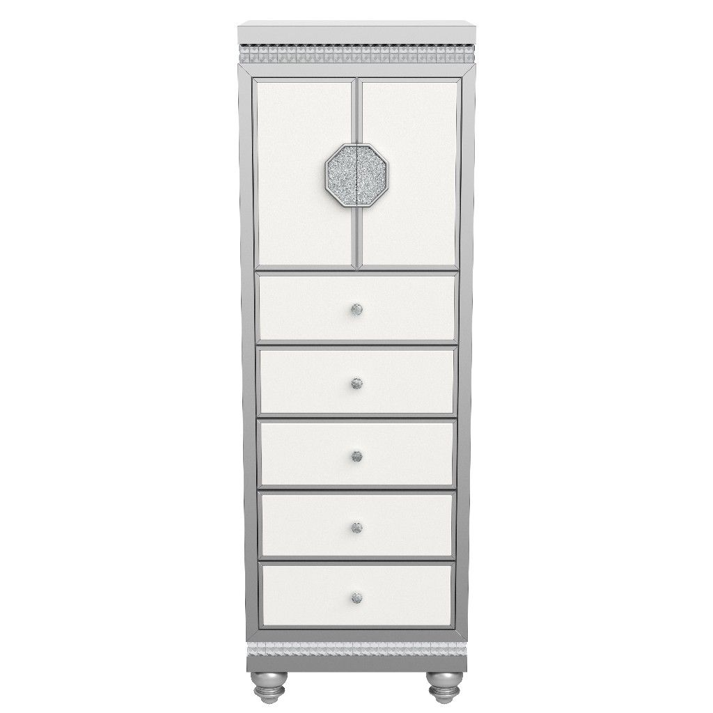 Lingerie Chest In White Silver Global Furniture Usa Kylie White Silver Lc