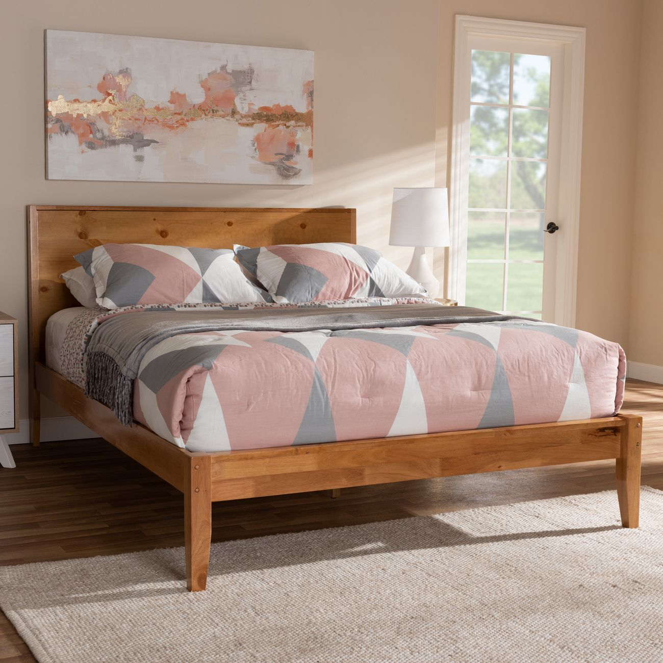 Baxton Studio Marana Modern Rustic Natural Oak Pine Finished Wood Full Size Platform Bed Sw8093 Natural Full