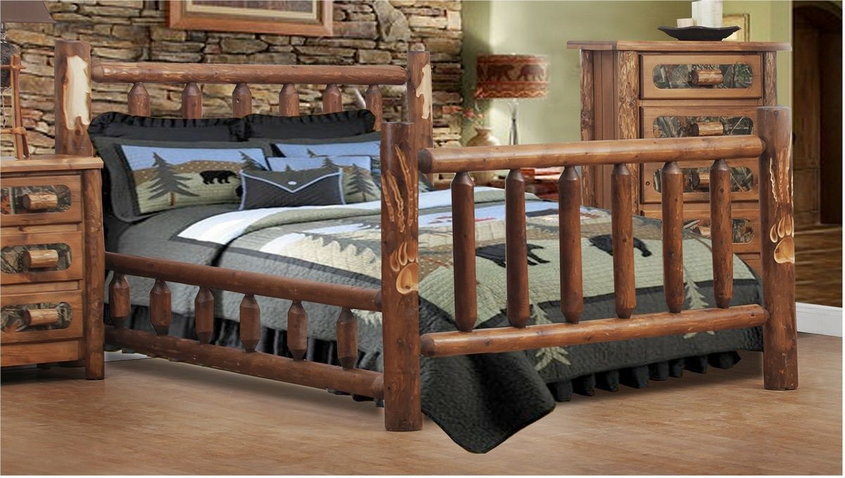 Chicopee Southern Style Queen Log Bed W Bear Claw Detail Golden Oak Chelsea Home Furniture 85200 260 Ss Qu Go