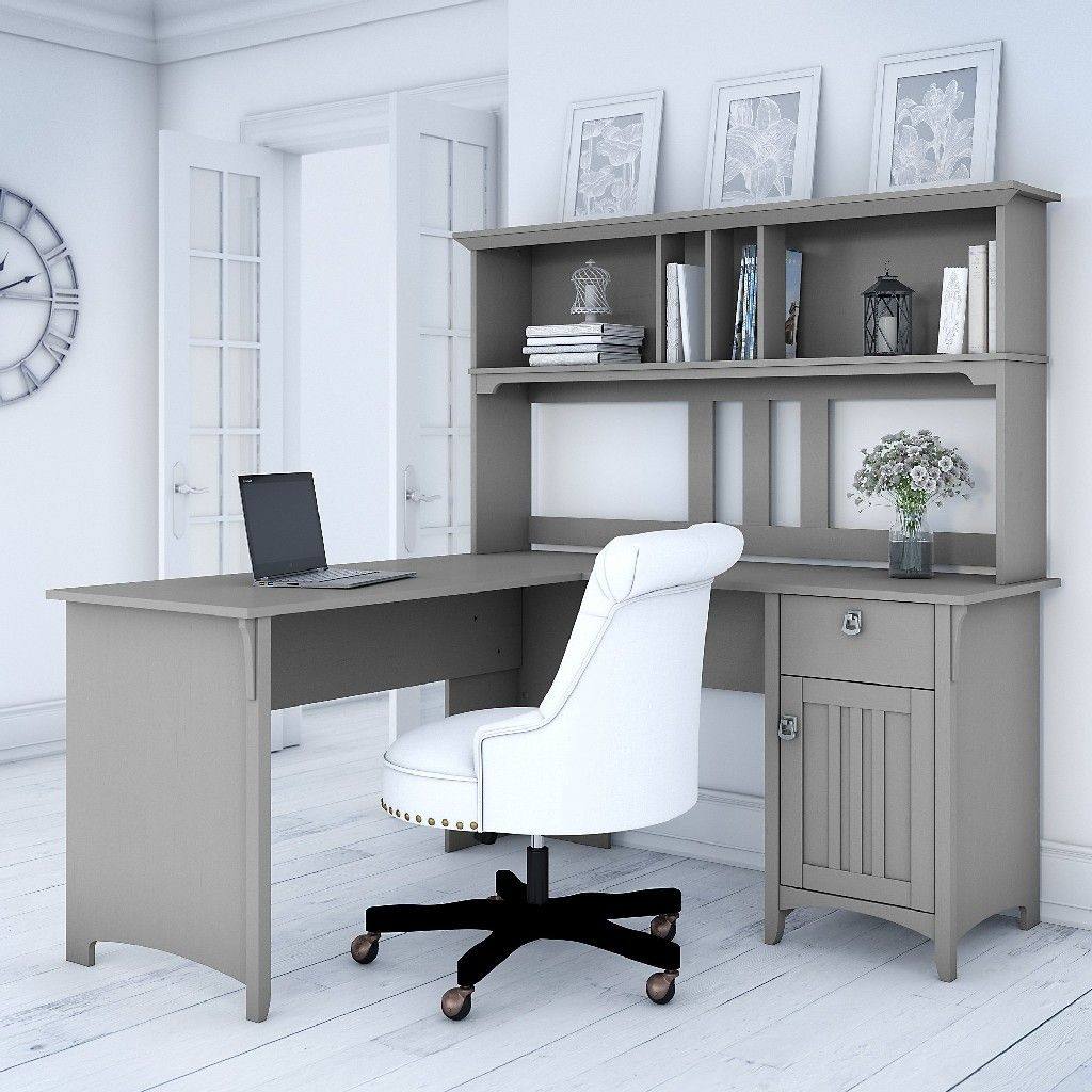 Salinas 60w L Shaped Desk W Hutch In Cape Cod Gray Bush Furniture Sal004cg