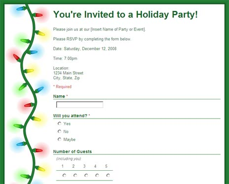 Party RSVP form to collect replies Google Docs template - invitation forms