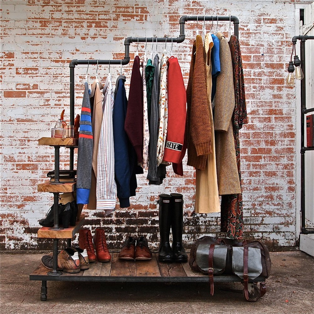 stellableudesigns Industrial Garment Rack Triple Level vesiak na kabaty zo stareho potrubia