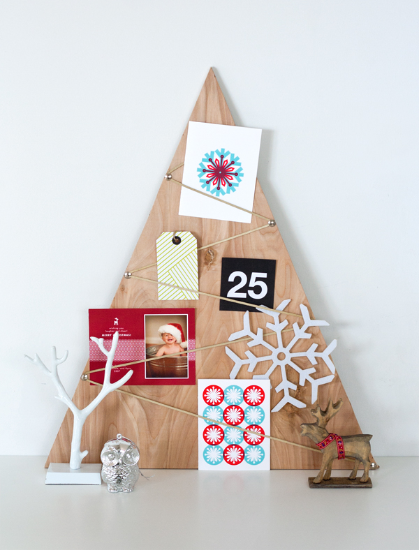 03 ambrosiagirl.com diy plywood holiday card holder ideaboard