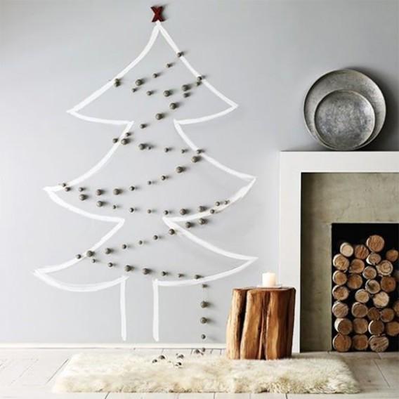 68 diy painted christmas stromcek namalovany na stenu