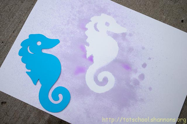 Watercolor Spray Painting with Stencils « Shannon\u0027s Tot School