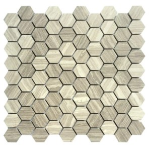 Taupe marble hex 1.25 inch mosaic decorative tile