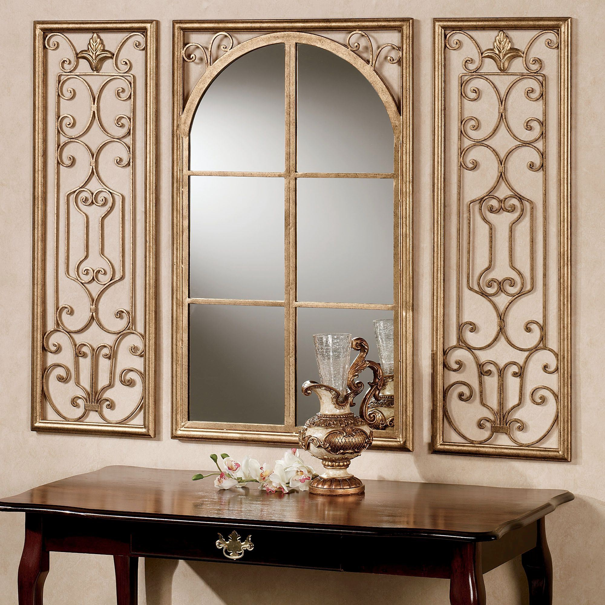 Decorative Mirror Table Provence Antique Gold Finish Wall Mirror Set