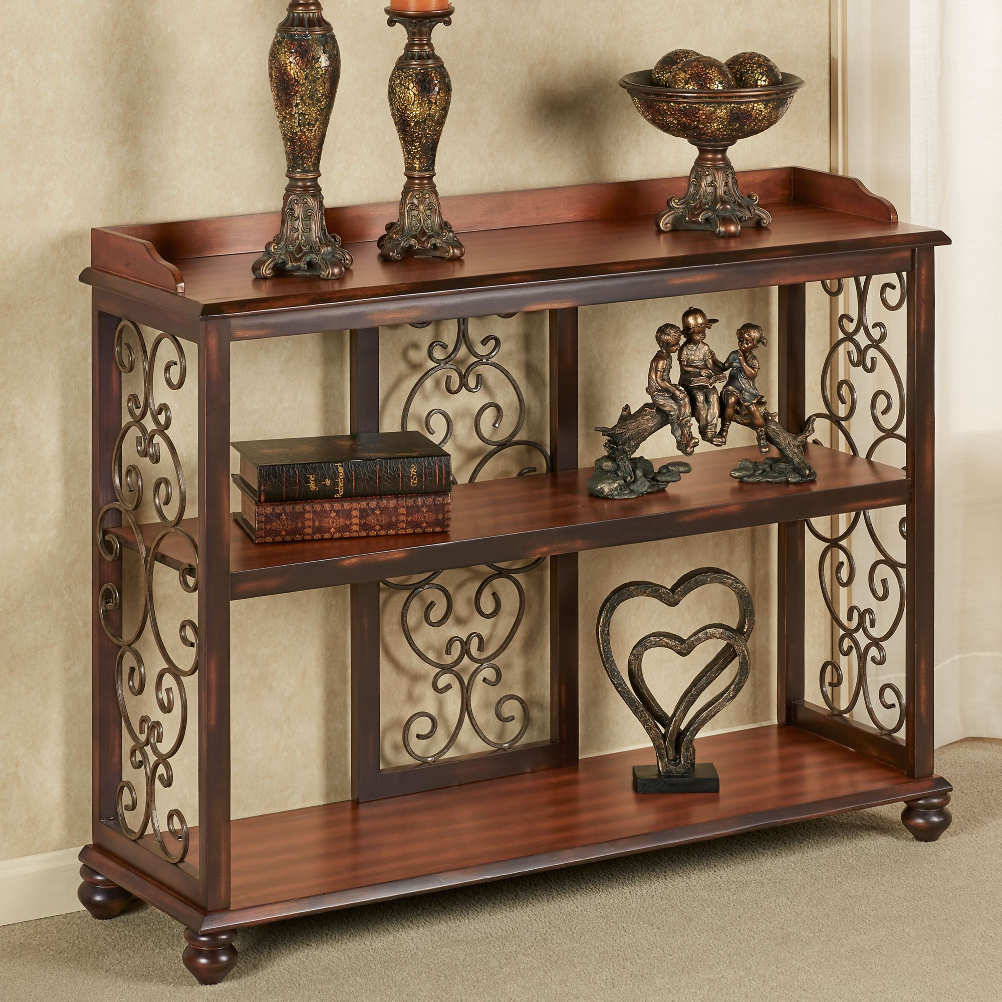 Ashburn Regal Walnut Wooden And Metal Console Table