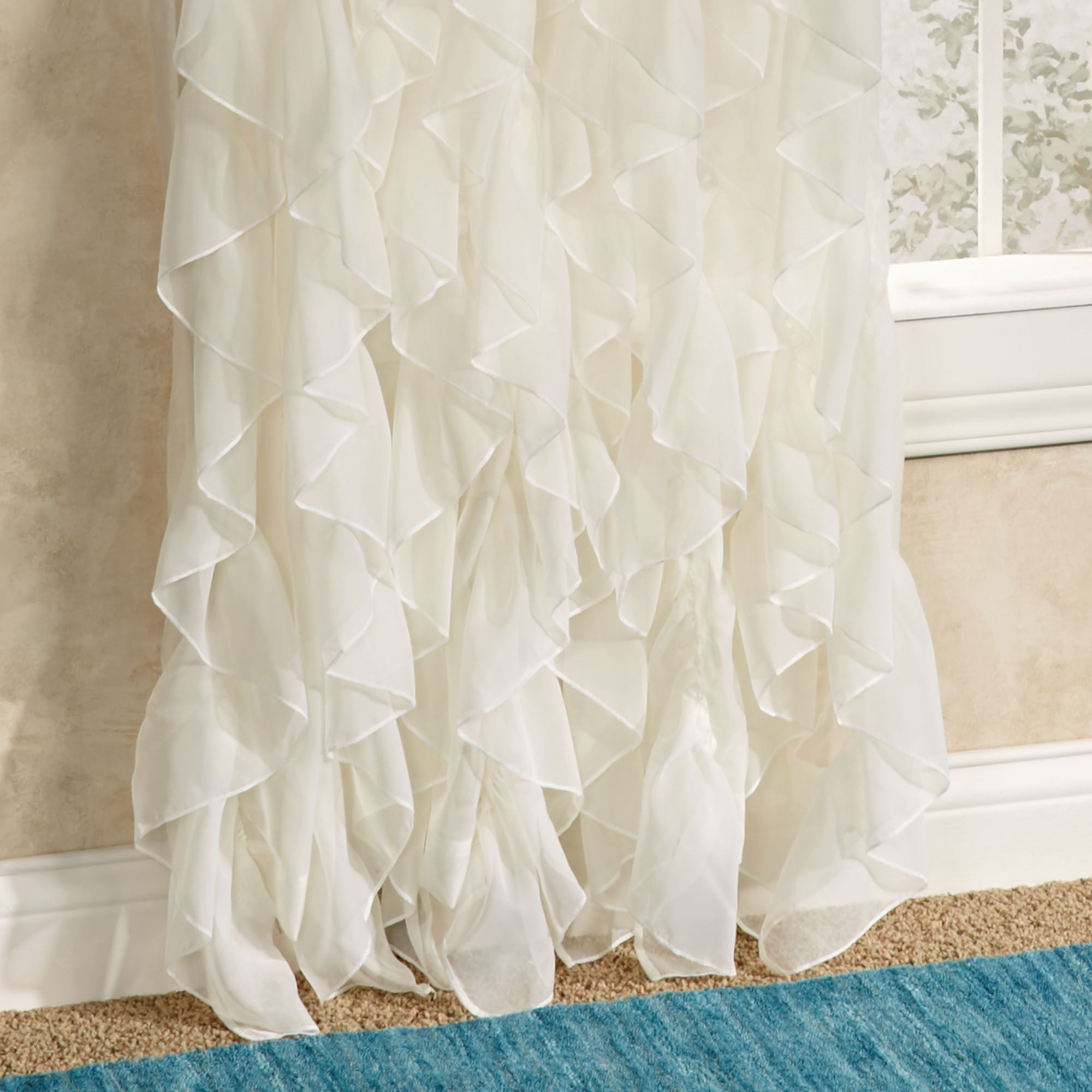 Ruffle Curtain Panel Cascade Sheer Voile Ruffled Window Treatment