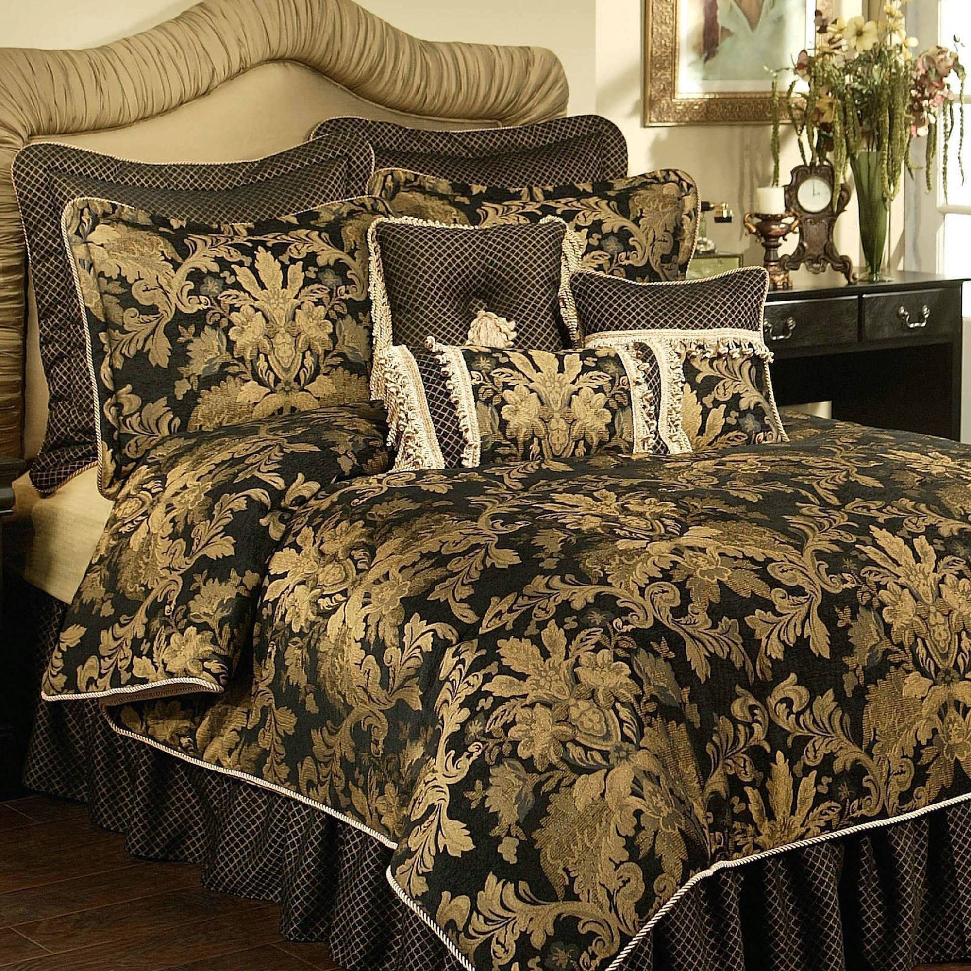 Victorian Bedding Lismore Black And Gold Damask Comforter Bedding From Austin Horn Classics