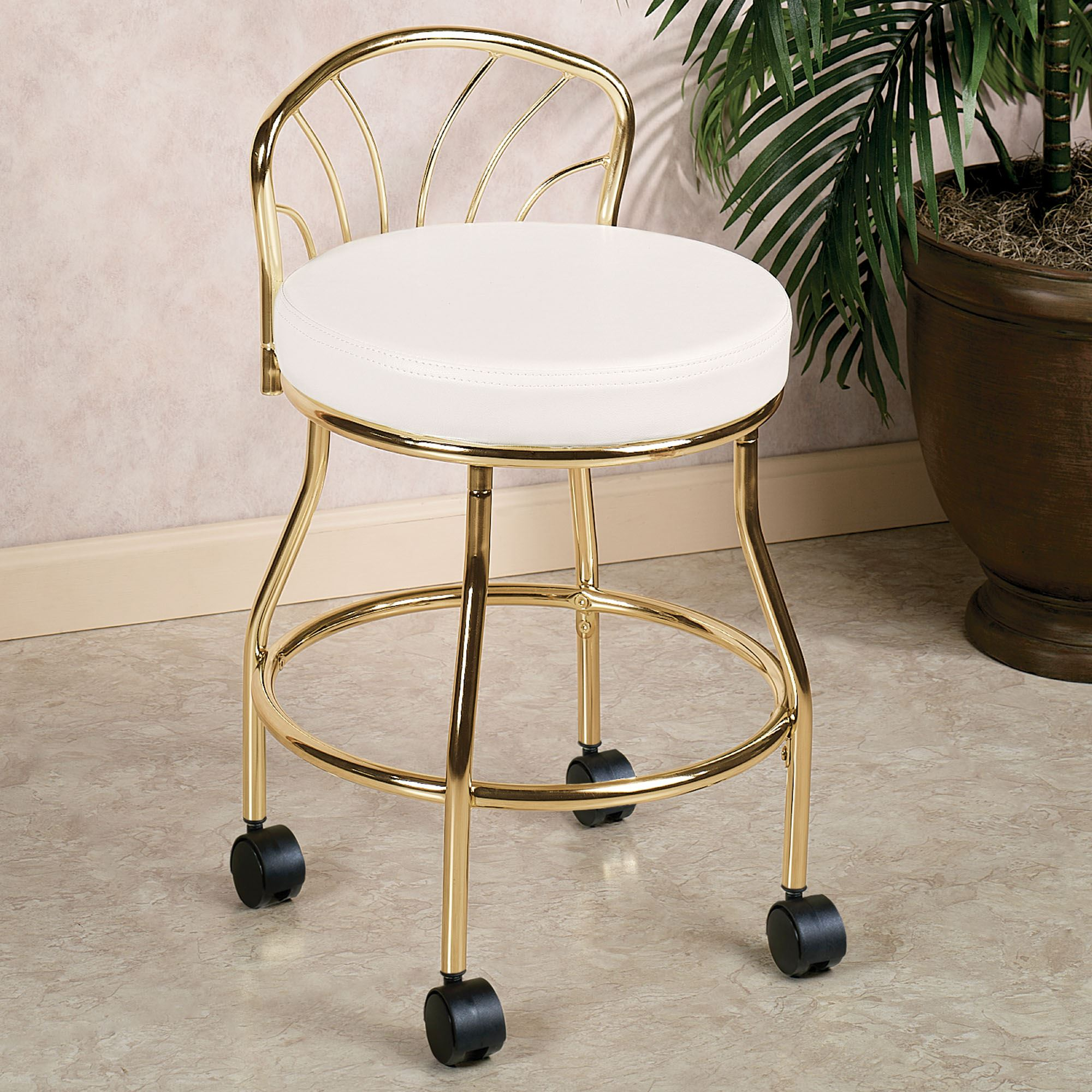 Vanity Seat With Back Flare Back Metallic Finish Vanity Chair With Casters