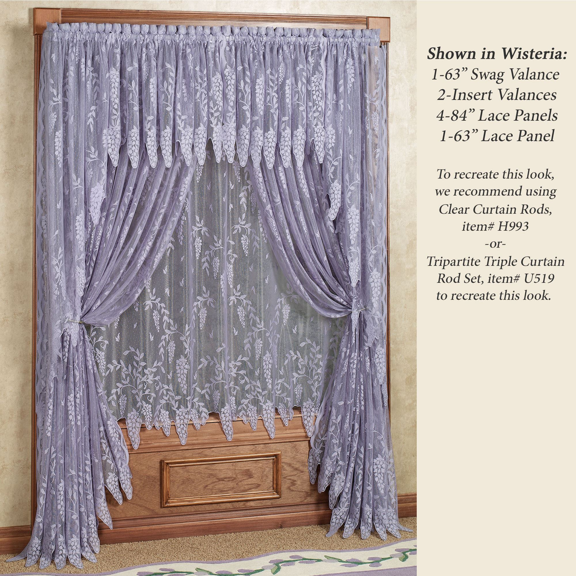 Lavender Sheer Curtains Wisteria Arbor Lace Valances And Curtain Panels