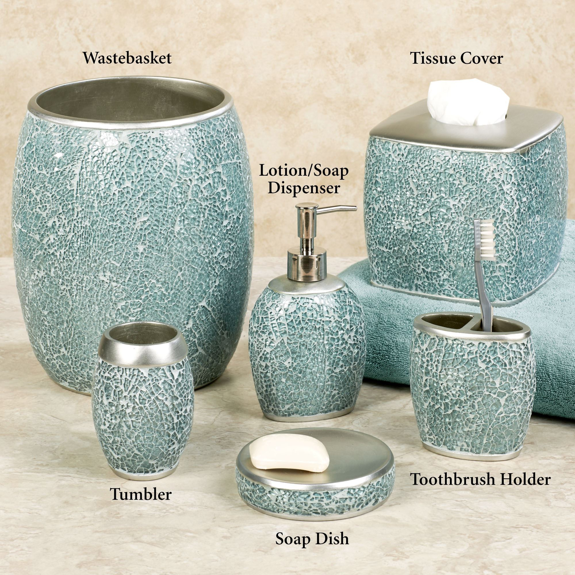 Bathroom Accessories Calm Waters Light Aqua Mosaic Bath Accessories