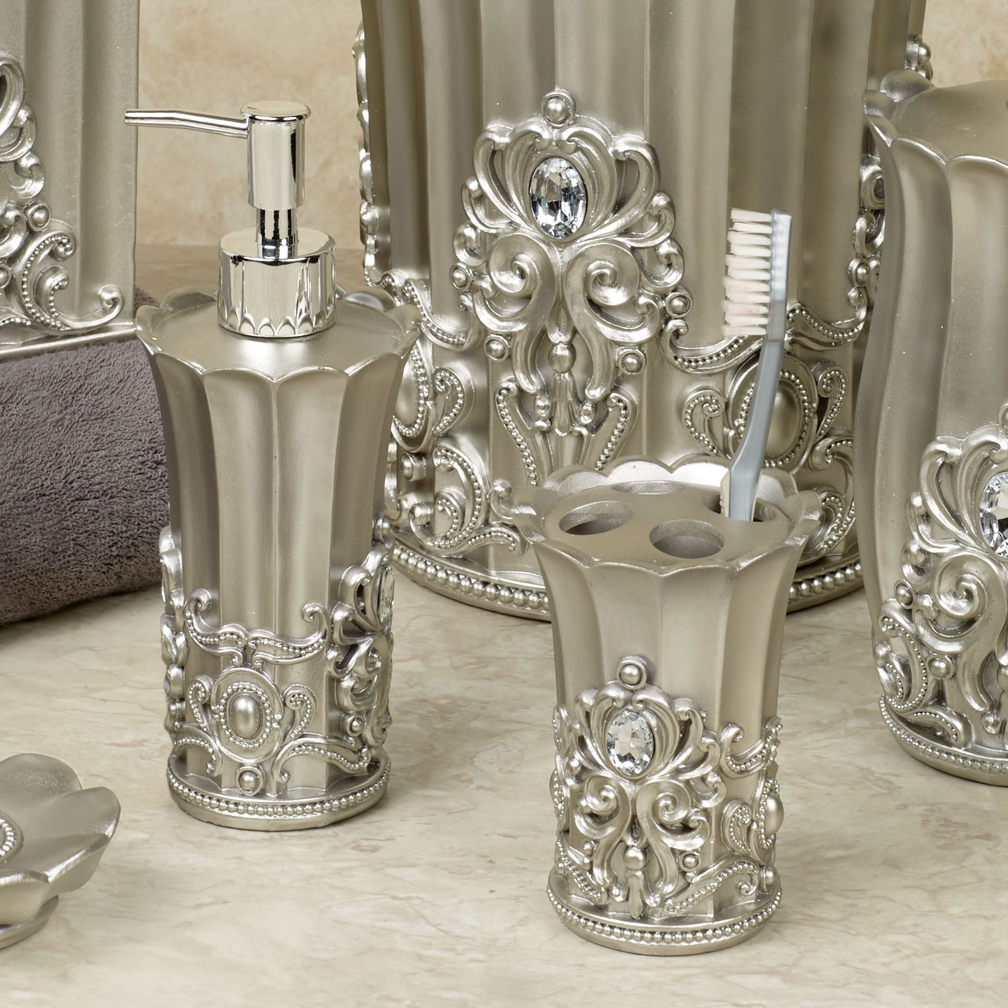 Bathroom Accessories Fatima Pewter Colored Bath Accessories
