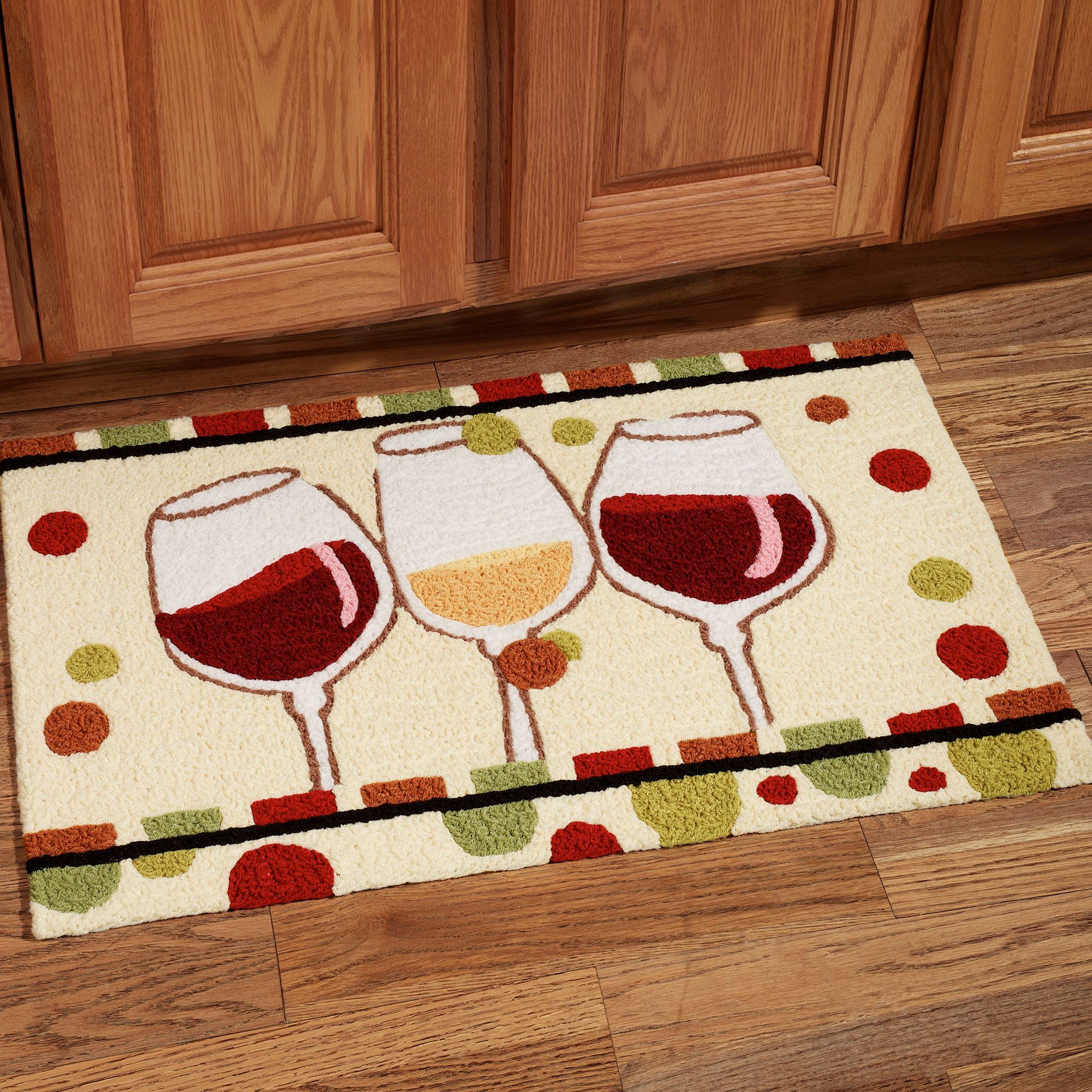Kitchen Rugs En Vin Wine Glass Handmade Kitchen Rug