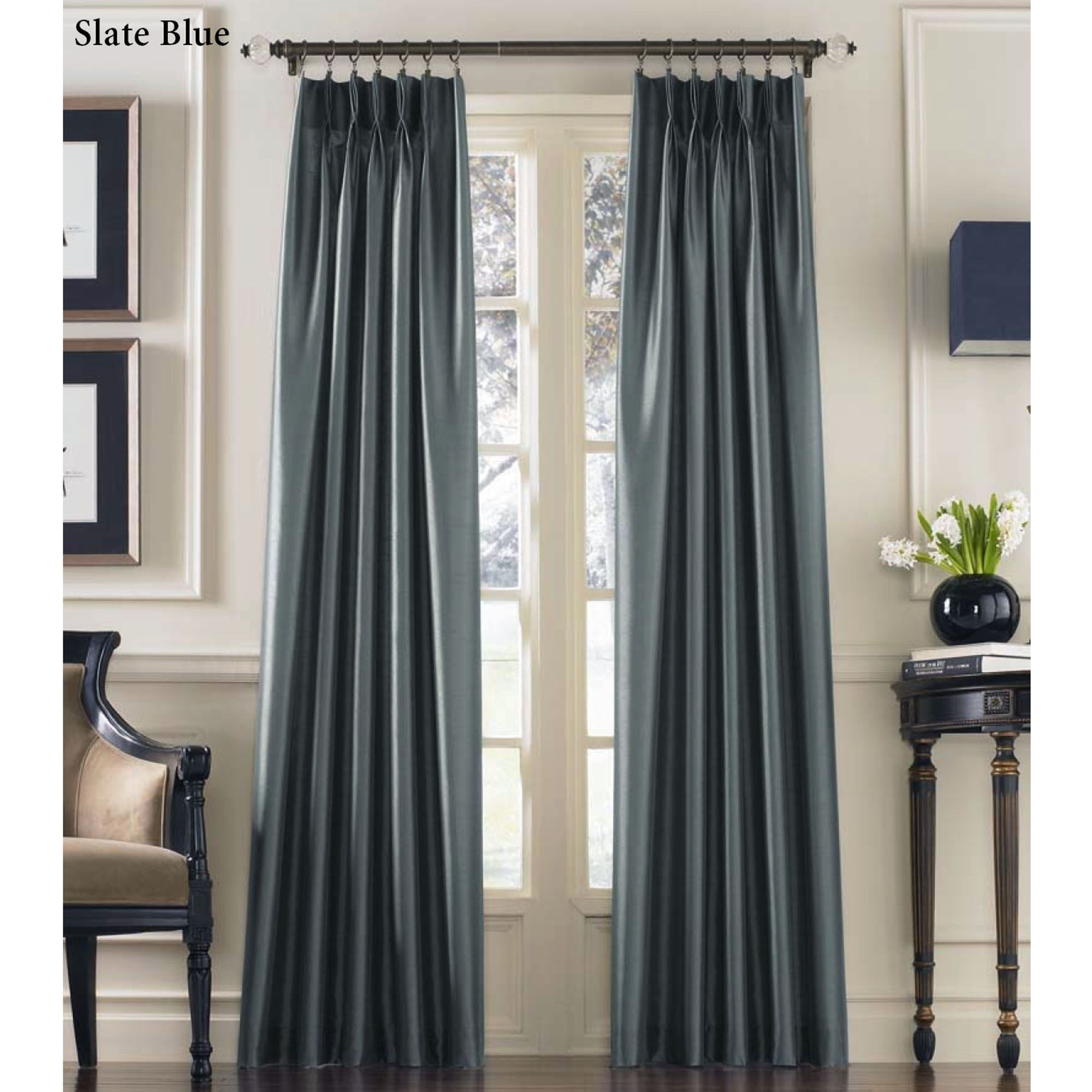 Faux Silk Curtains Marquee Flared Faux Silk Pinch Pleat Curtain Panel
