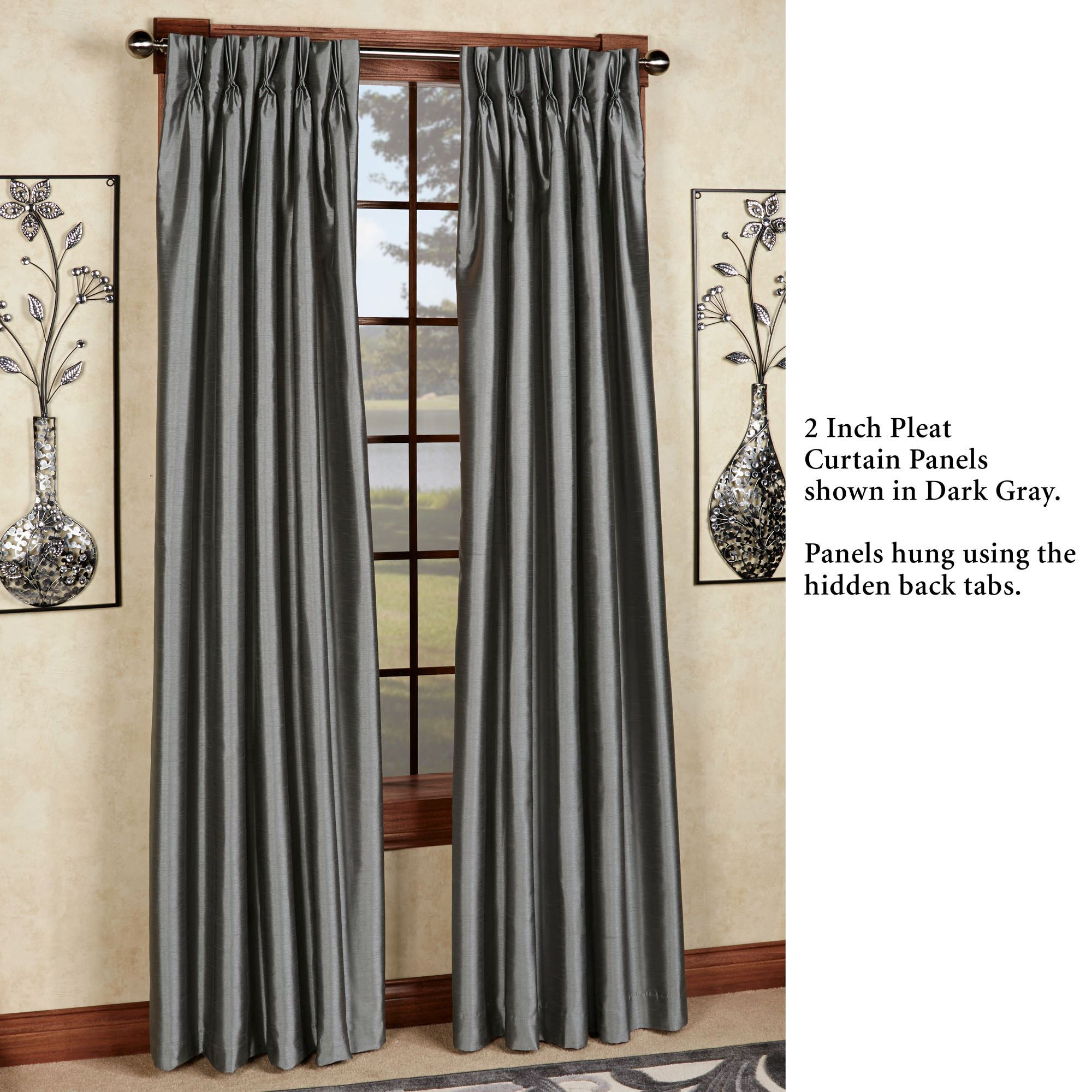 Traditional Curtains Marquee Flared Faux Silk Pinch Pleat Curtain Panel