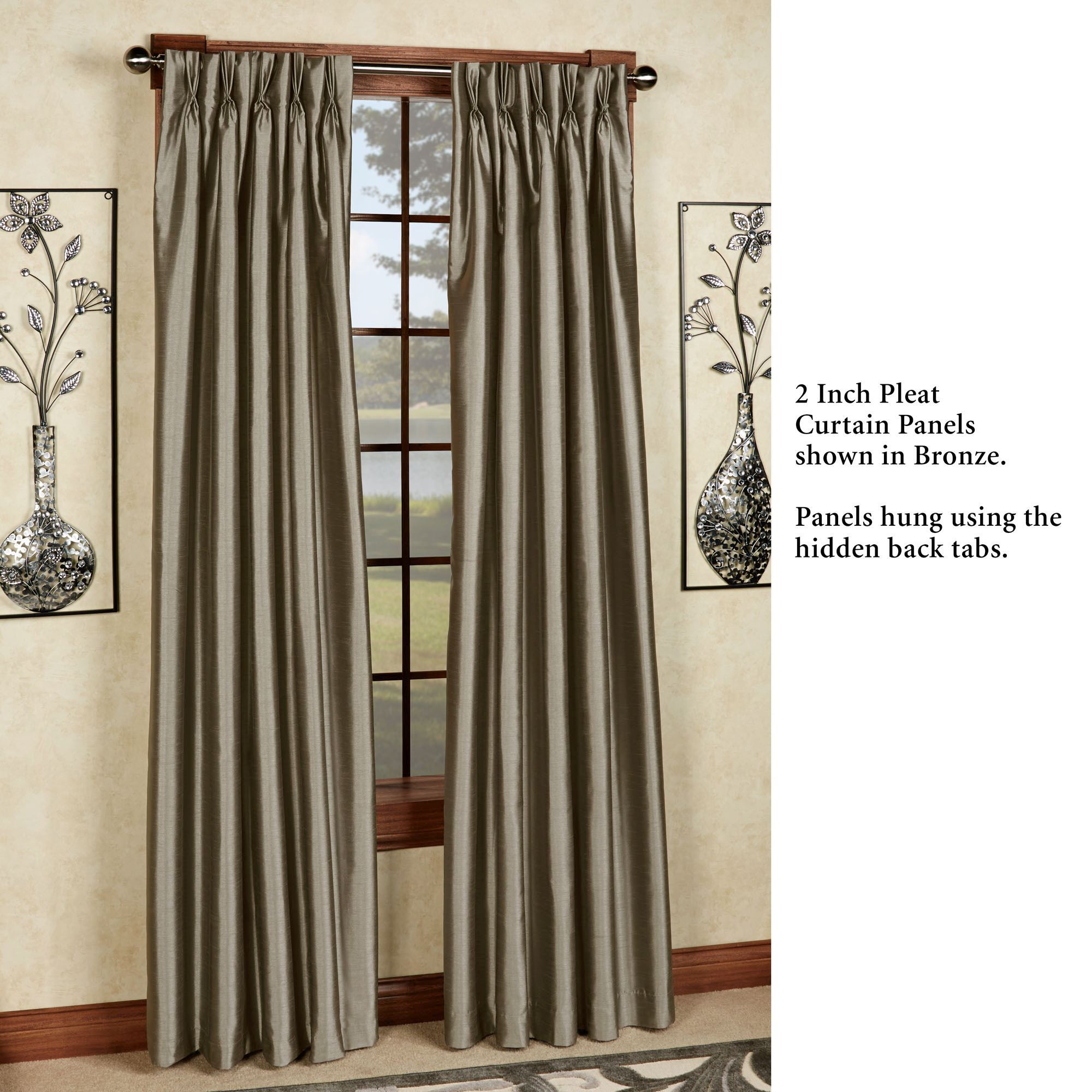 Curtains For Long Windows Marquee Flared Faux Silk Pinch Pleat Curtain Panel