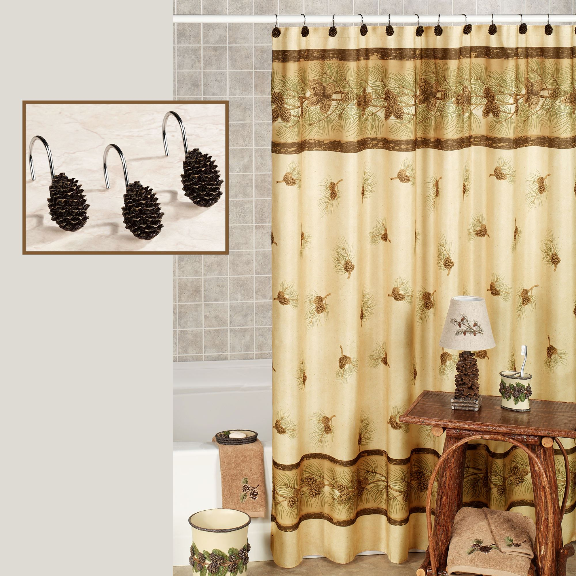 Cheap Rustic Shower Curtains Pinehaven Rustic Pine Cone Shower Curtain