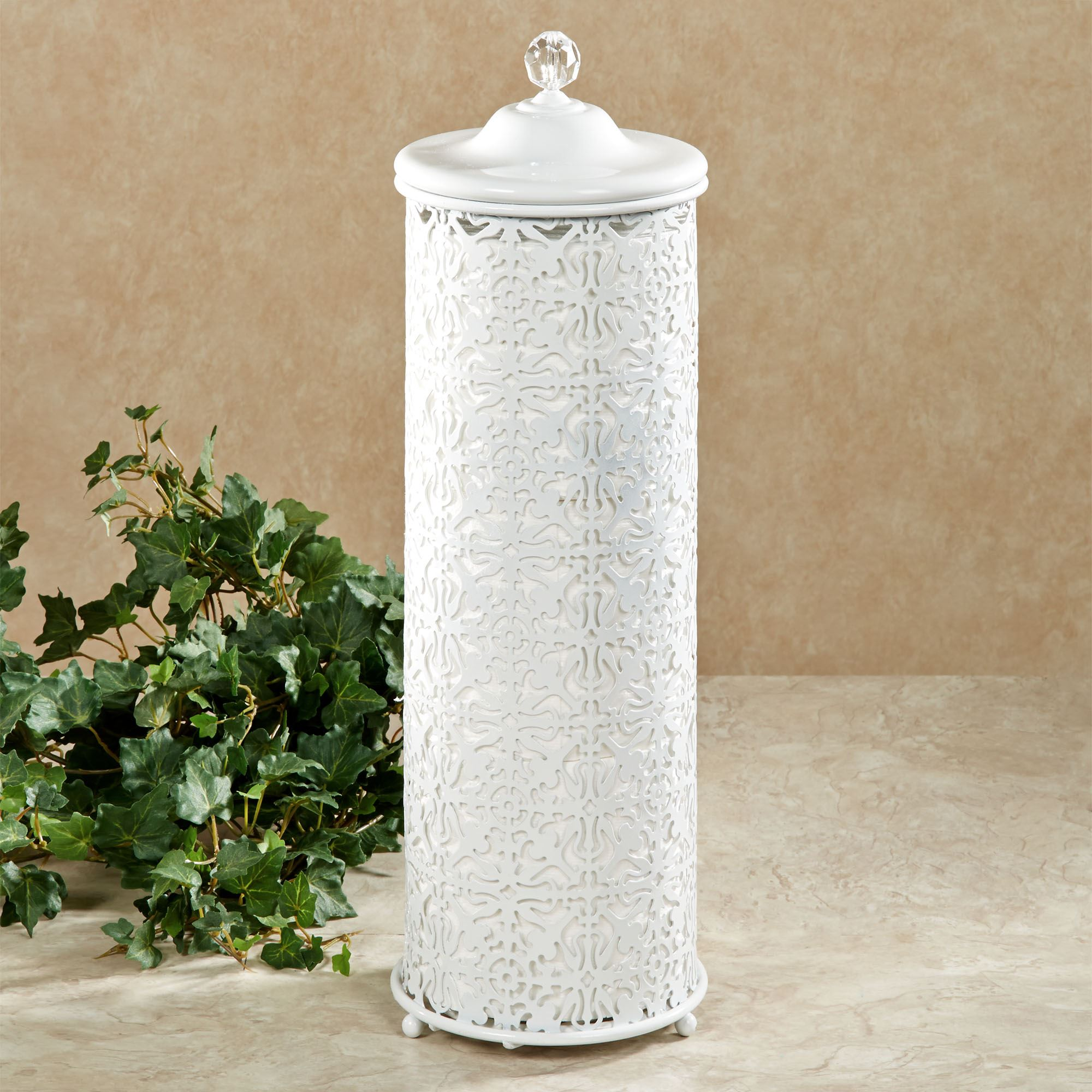 Covered Toilet Paper Storage Lace Design Metal Toilet Tissue Holder