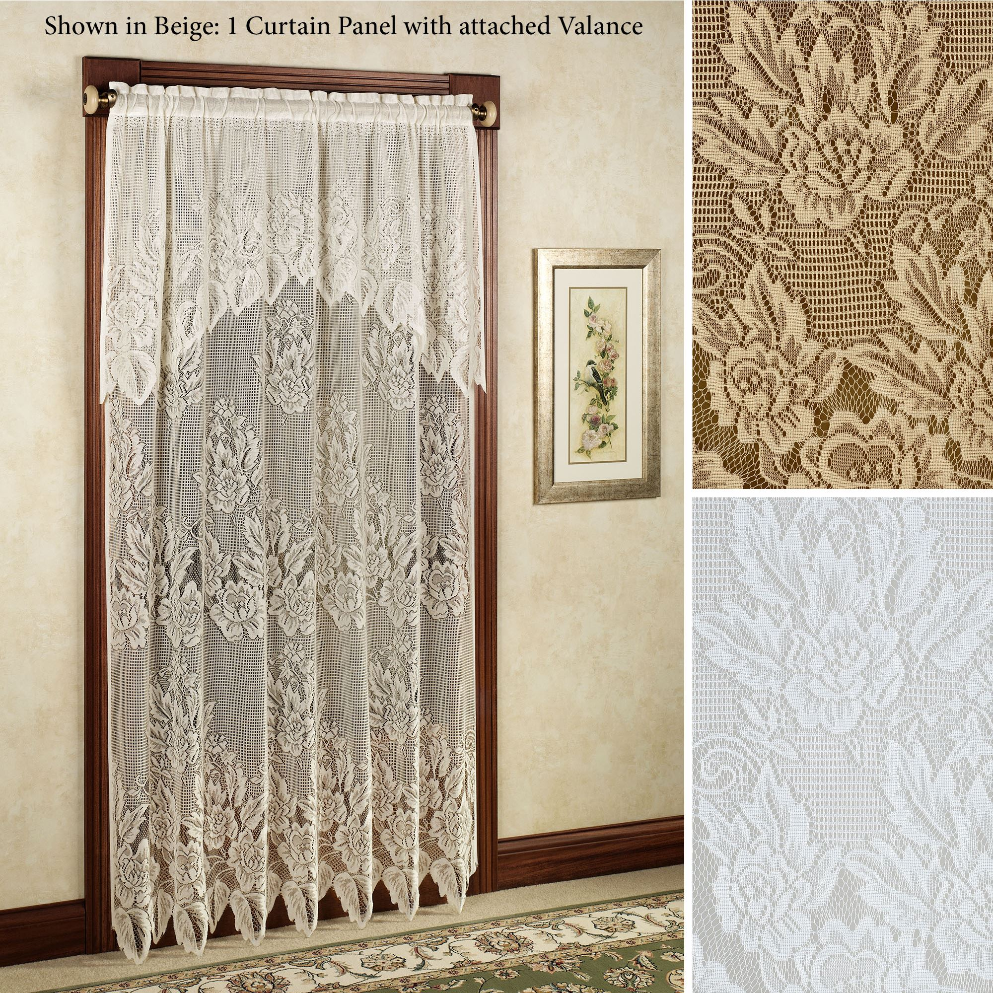 French Lace Curtains Easy Style Hallie Magnolia Lace Curtain Panel With Attached Valance