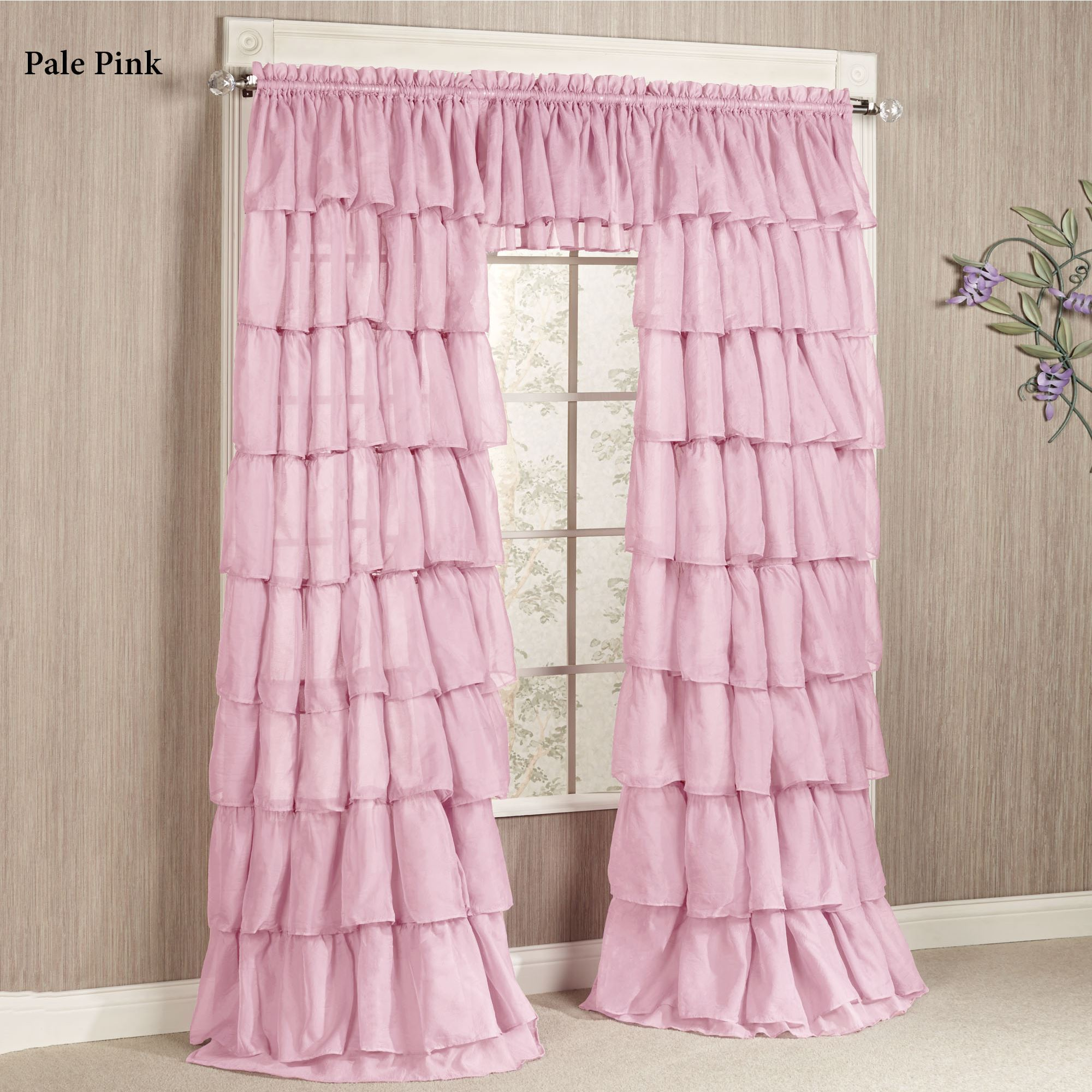 Ruffle Curtain Panel Gypsy Sheer Voile Ruffled Window Treatment