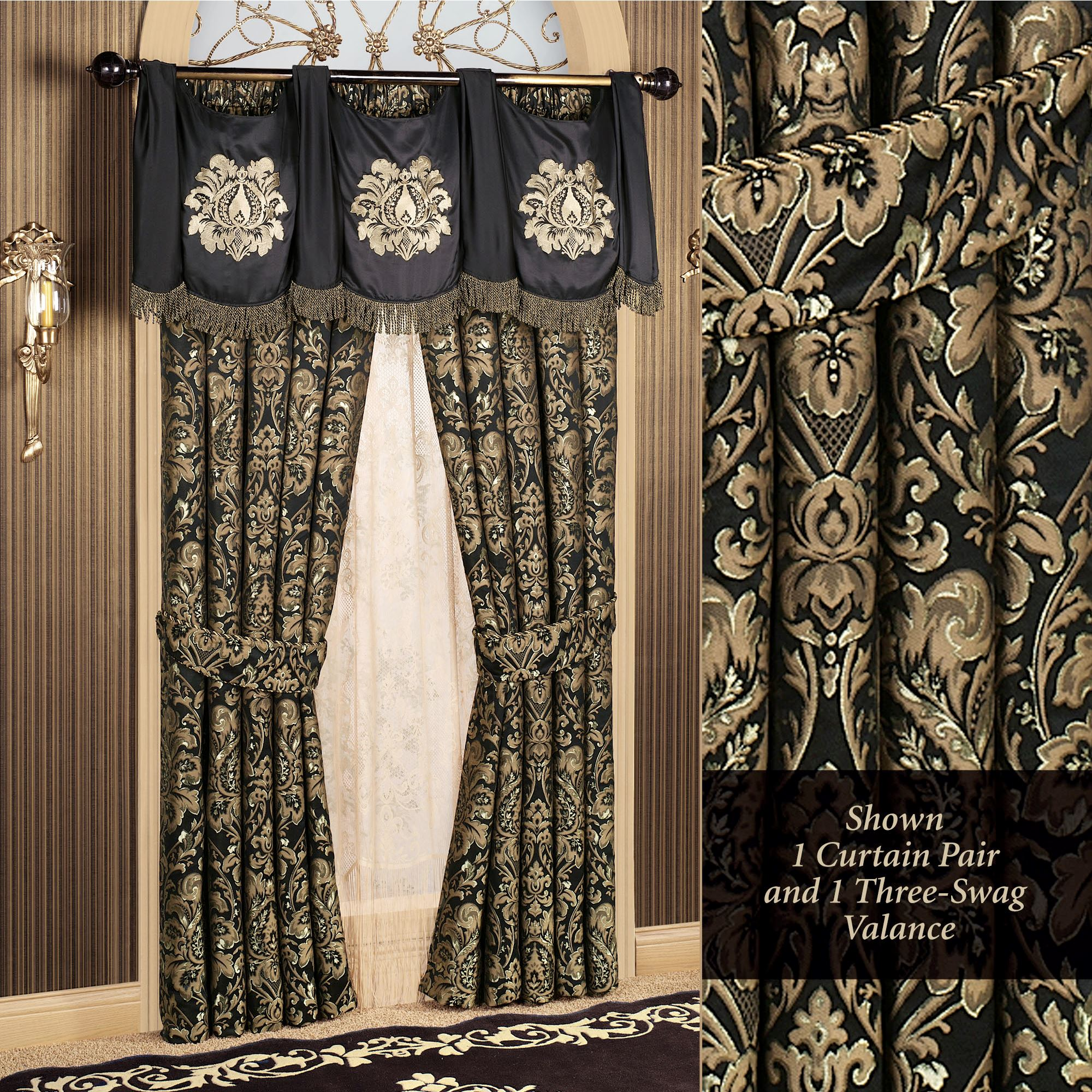 Traditional Curtains Imperial Damask Swag Valance And Curtains