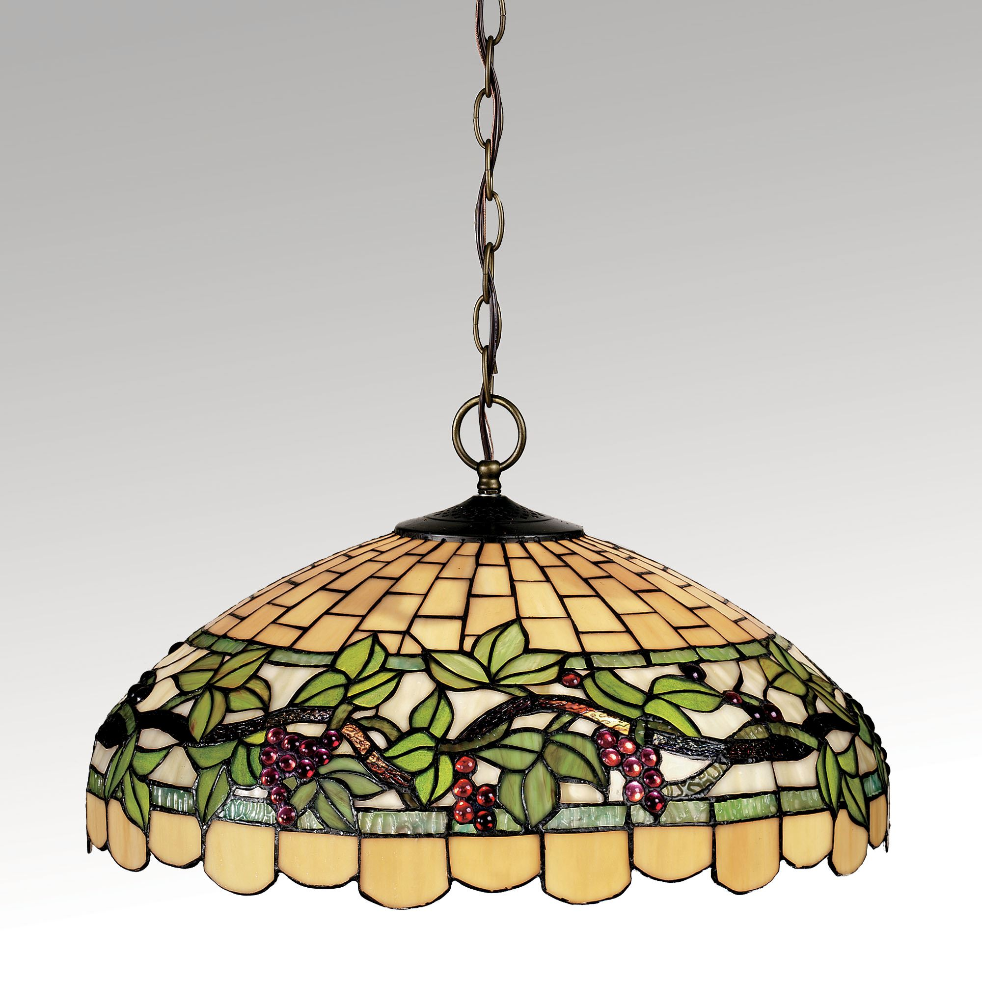 Hanging Lamp Grapevine Breeze Stained Glass Hanging Lamp