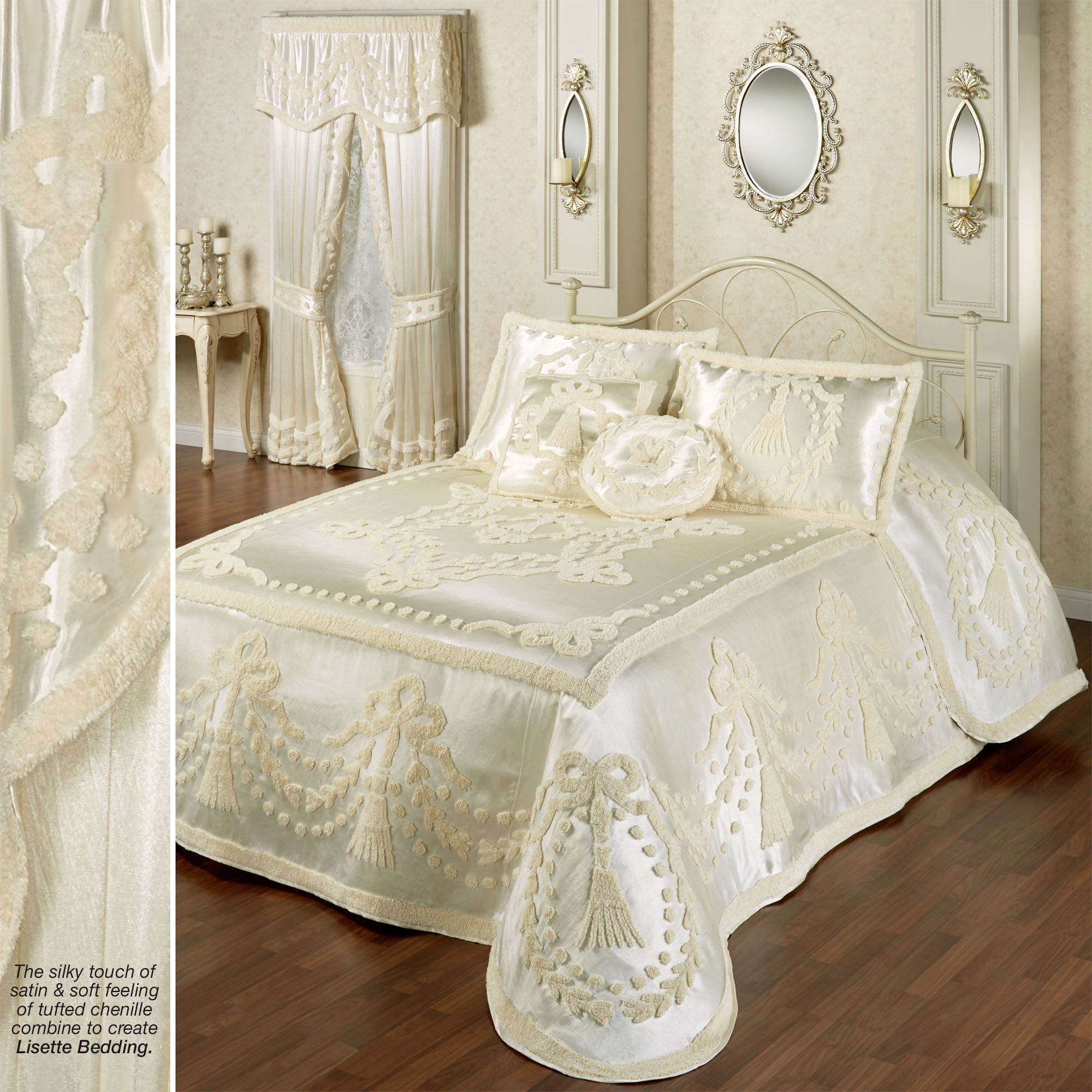 Victorian Bedding Lisette Pearl Chenille Satin Oversized Bedspread