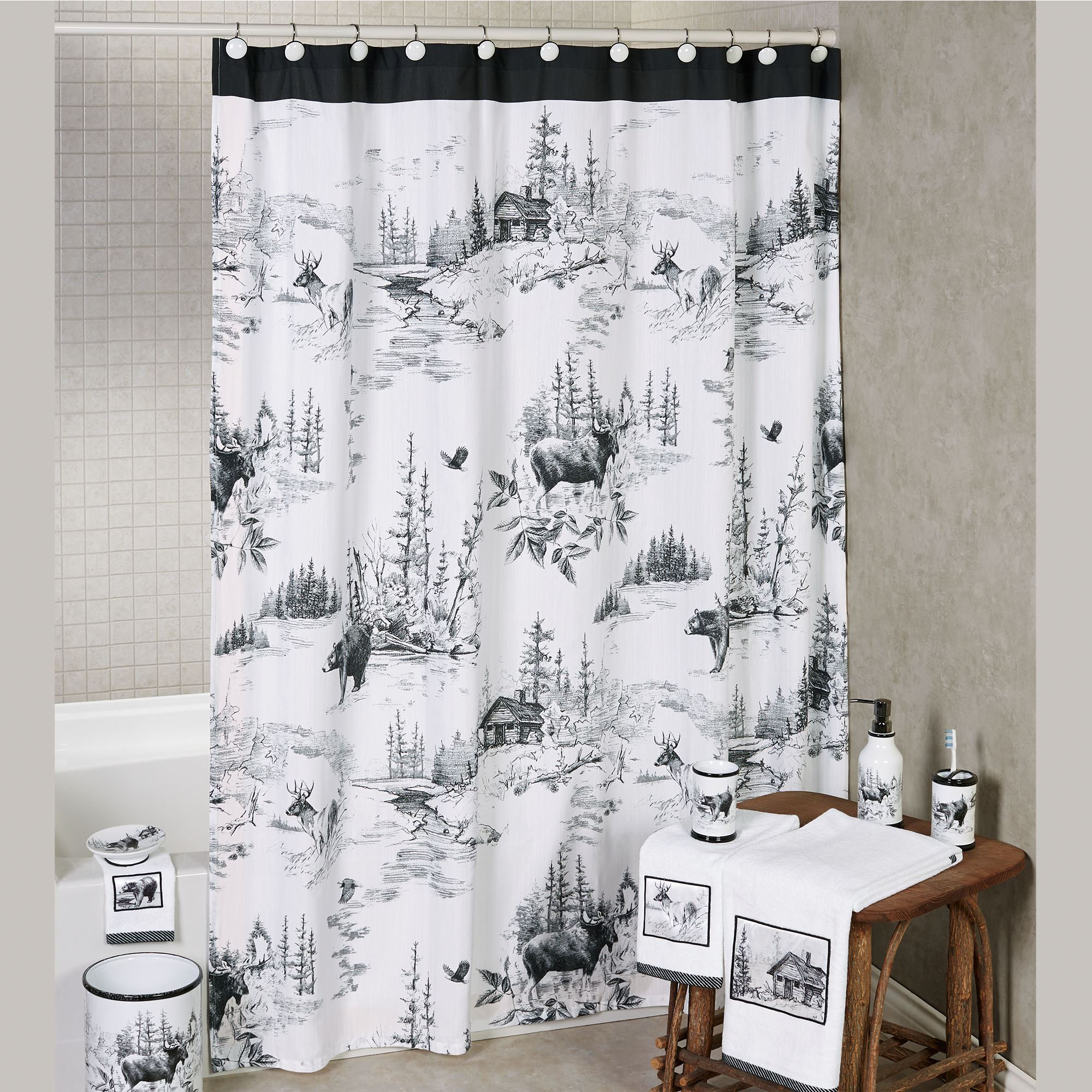 Cheap Rustic Shower Curtains Sketches Rustic Cabin Wildlife Shower Curtain By Hautman Brothers