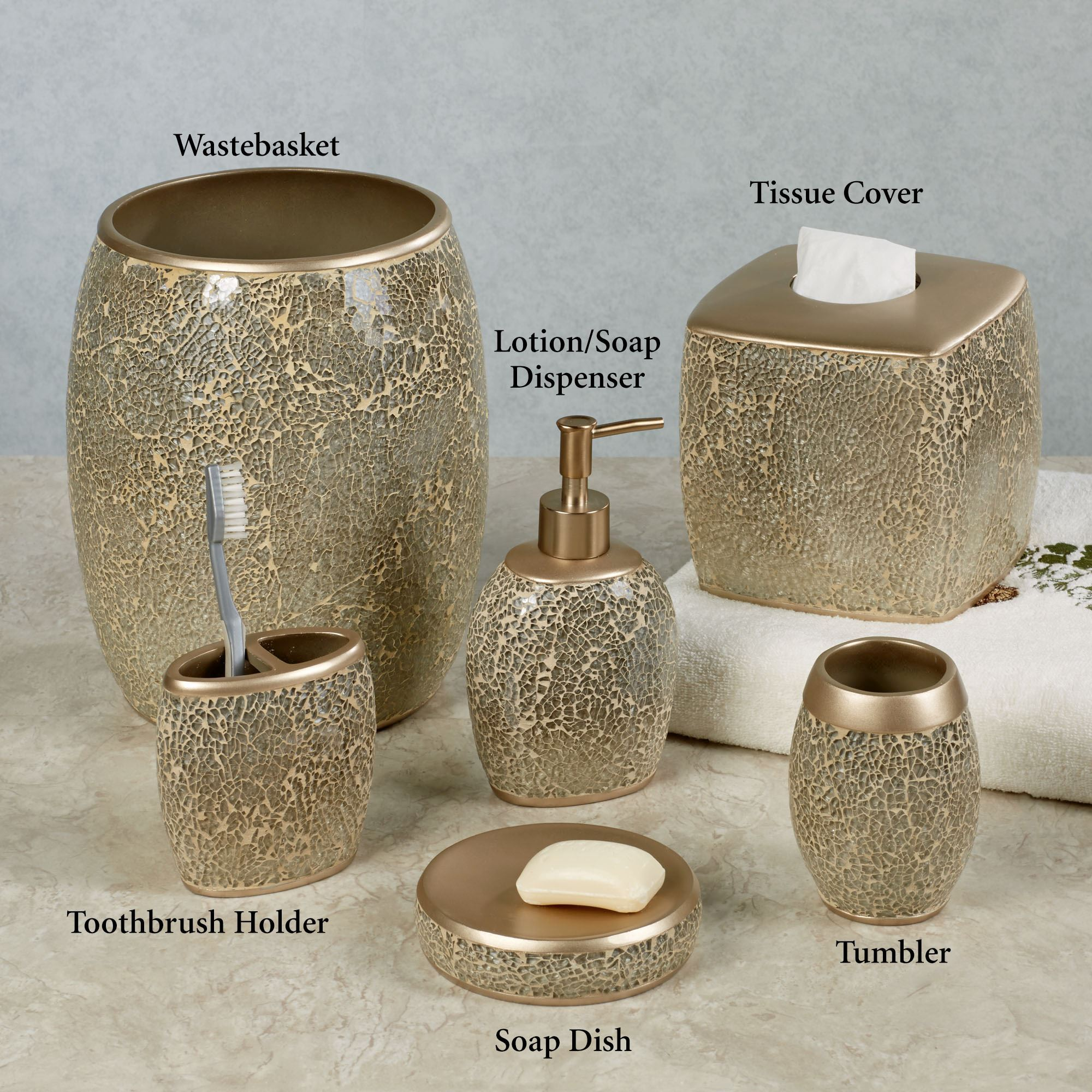 Bathroom Accessories Huntington Champagne Mosaic Bath Accessories